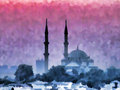 Watercolor istanbul cityscape with mosque in painting technique Stock Photography