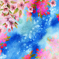 Watercolor japanese cherry blossoms