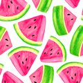 Watercolor juicy watermelon slice seamless pattern. Hand drawn colorful illustration isolated on white background for decoration,