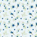 Watercolor juniper branches seamless pattern