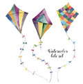 Watercolor kite set with vintage design. Hand painted illustrations isolated on white background. For design or print. Royalty Free Stock Photo