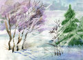 Watercolor Landscape Collection: Winter Stock Photo