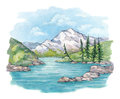 Watercolor landscape illustration lake mountains Stock Photos