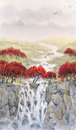 Watercolor landscape. Mountain stream flows through the autumn f