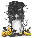 Watercolor landscape. Old grave, holidays pumpkins and flock of bats . Halloween holiday illustration. Magic, symbol of Royalty Free Stock Photo