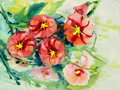 Watercolor landscape original painting colorful of beauty flowers.
