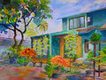 Watercolor landscape painting colorful of my home,flowers garden.
