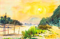 Watercolor landscape painting yellow, orange color of sunset Royalty Free Stock Photo