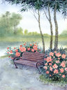 Watercolor landscape park bench by the bushes pions twilight in old road in under trees near river Royalty Free Stock Photography