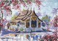 Watercolor landscape. Temple in Asia surrounded by a blooming park