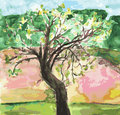 Watercolor landscape with tree Stock Images