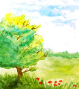 Watercolor landscape with tree, flowers and sky Royalty Free Stock Photo