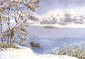 Watercolor landscape winter snow on a cloudy day on the lake two ducks near shore in Royalty Free Stock Images