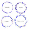 Watercolor Lavender flowers wreath isolated on white background, Round colorful frame, hand drawn sketch herbal vintage silhouette