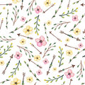 Watercolor Leaves, Arrows And Pink Flowers Seamless Pattern