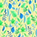 Watercolor leaves pattern. Illustration for design, card, print, decorations or background