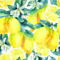 Watercolor lemon fruit branch with leaves seamless pattern