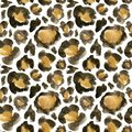 Watercolor leopard camouflage big seamless pattern. Hand painted beautiful illustration with animal points isolated on