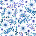 Watercolor Light Violet Leaves and Little Flowers Seamless Pattern