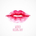 Watercolor lips. World Kissing Day