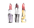 Watercolor lipsticks set. Fashion makeup sketches. Vogue style. Beauty and cosmetic illustration.