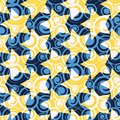 Watercolor Little Dots and Colorful Stars Seamless Pattern