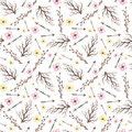 Watercolor Little Flowers, Arrows And Branches Seamless Pattern