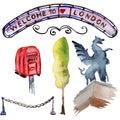 Watercolor London illustration. Great Britain hand drawn symbols.