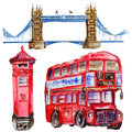 Watercolor London illustration. Great Britain hand drawn symbols. British bus