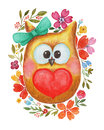 Watercolor lovely owl with heart and flowers