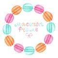 Watercolor macaron frame