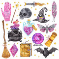 Watercolor magic icons. Hand drawn, doodle, sketch magician set. Witchcraft