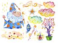 Watercolor magic illustration with hand drawn artistic elements isolated on white background - wizard, hat, wand, spell book. Royalty Free Stock Photo