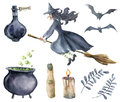 Watercolor magic set. Hand painted witch on broomstick, bottle of poison, cauldron with potion, broom, candle, finger