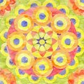 Watercolor mandala of yellow, red and orange