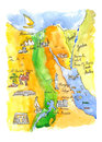 Watercolor map of attractions Egypt Royalty Free Stock Photo