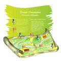 Watercolor map with pins and fag with yellow green banner behind for your text Royalty Free Stock Photo