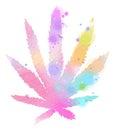Watercolor marijuana symbol. Digital art painting