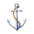 Watercolor. Marine icon. Iron anchor.