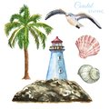 Watercolor marine nautical illustration. Set of beach elements- lighthouse, palm tree, seashells, seagull, isolated. Summer