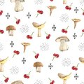 Watercolor minimalism seamless pattern forest ornament with mooshrooms and doodle. Abstract illustration for wedding invitations,