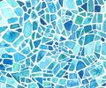 Watercolor mosaic texture. Blue kaleidoscope background. Painted geometric pattern.