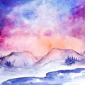 Watercolor nothern lights nature snow winter landscape
