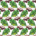 Watercolor oak green leaf acorn seed seamless pattern background texture Royalty Free Stock Photo