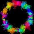 Creative colorful rainbow watercolor border. Texture frame .