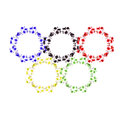 Watercolor Olympic rings on a white background