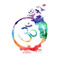 Watercolor om sign label vector isolated rainbow yoga concept Royalty Free Stock Images