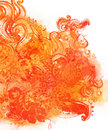 Watercolor orange floral background Stock Photos