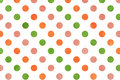 Watercolor orange, pink and green polka dot background. Royalty Free Stock Photo