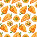 Watercolor orange yellow sweet bell Bulgarian pepper vegetable seamless pattern texture background